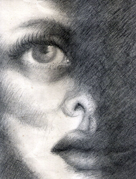 View from darkness pencil drawing of women