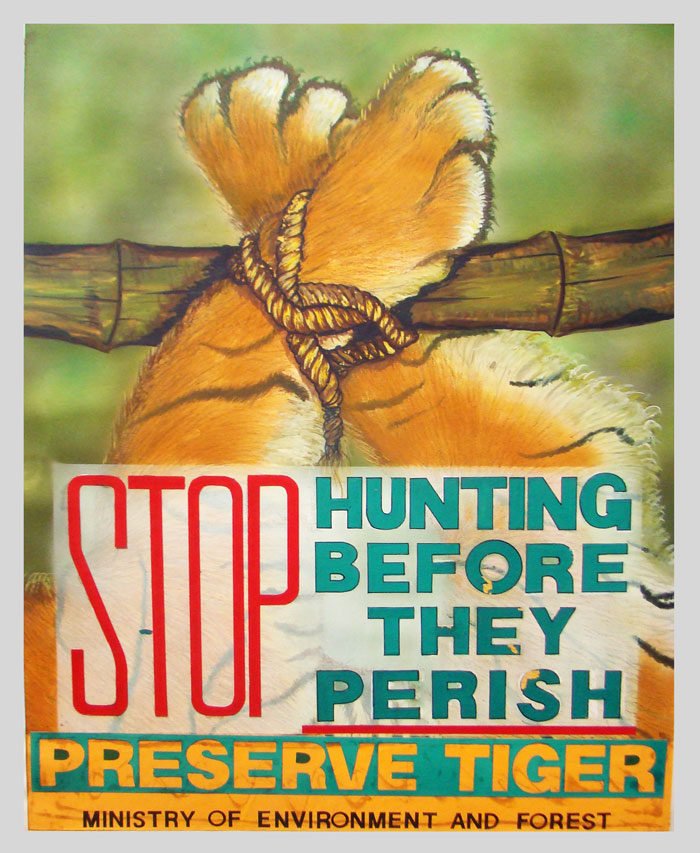 Poster on stop hunting tigers, save tiger