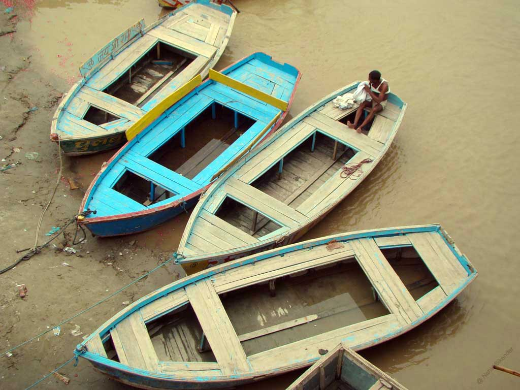 Resting boats in ganga river