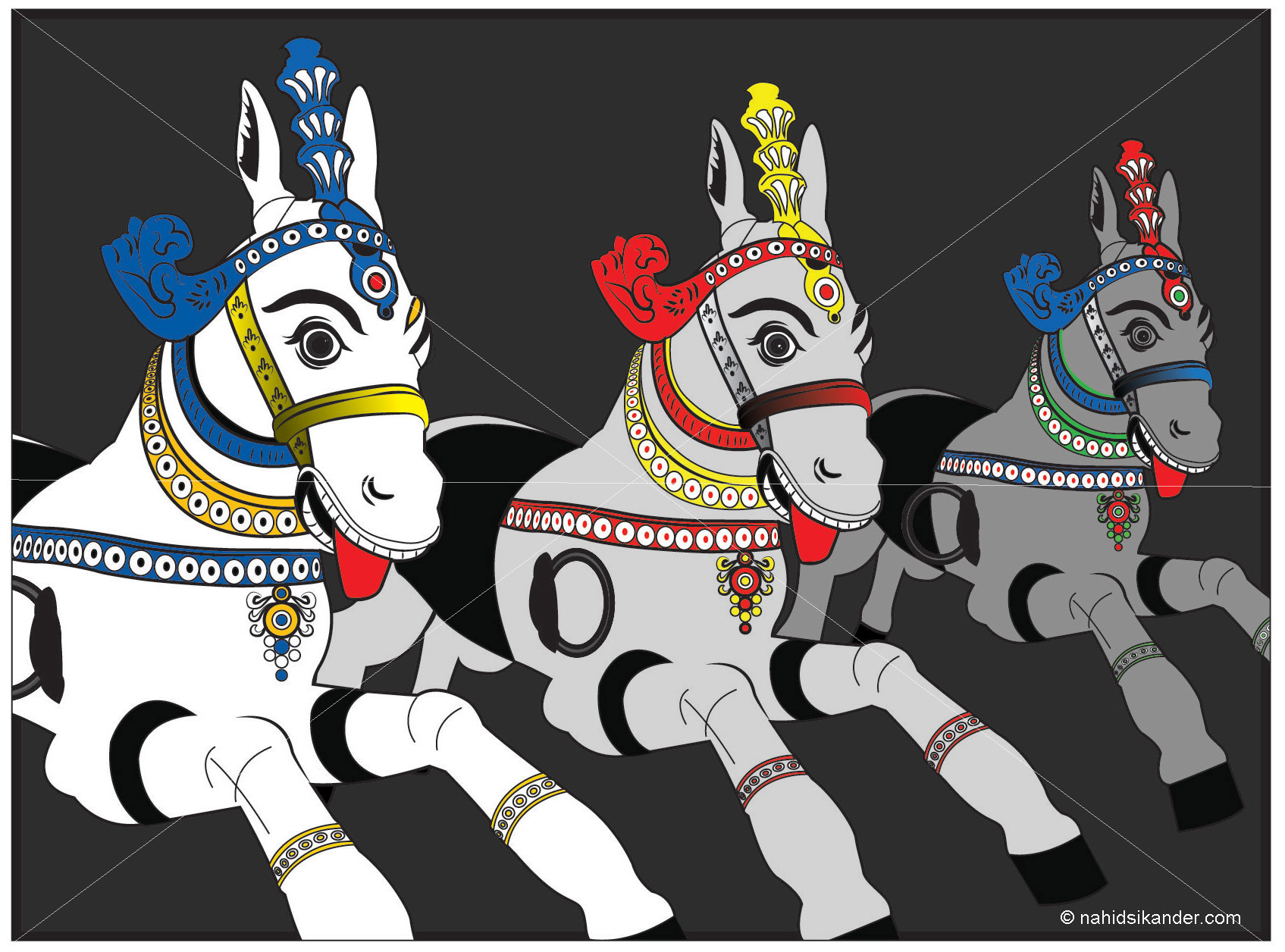 Horses sculptures Indian art style,converted into vector images