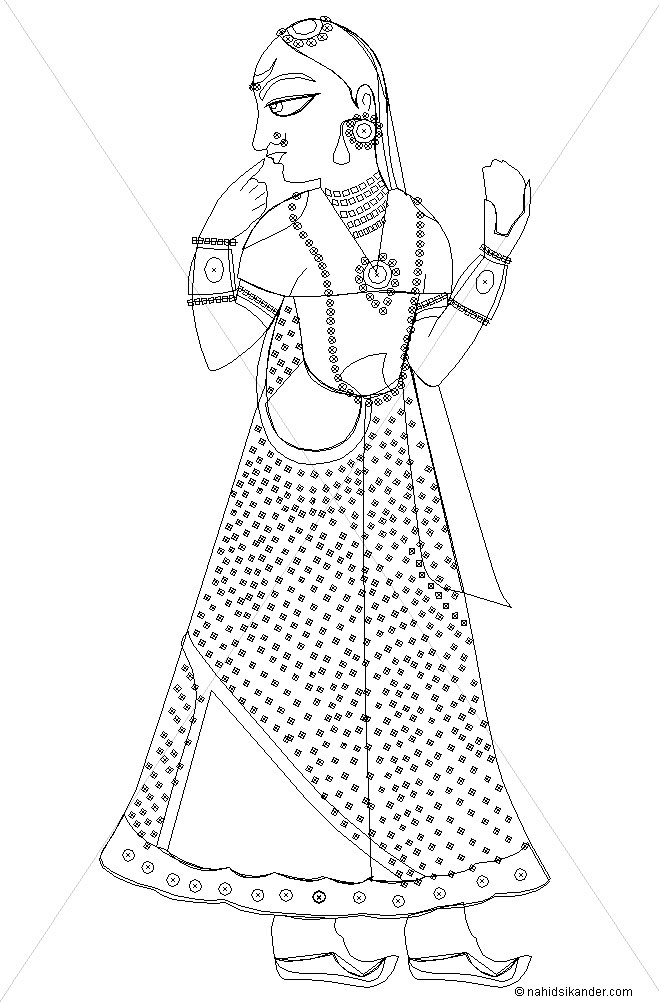 line art of Indian art style