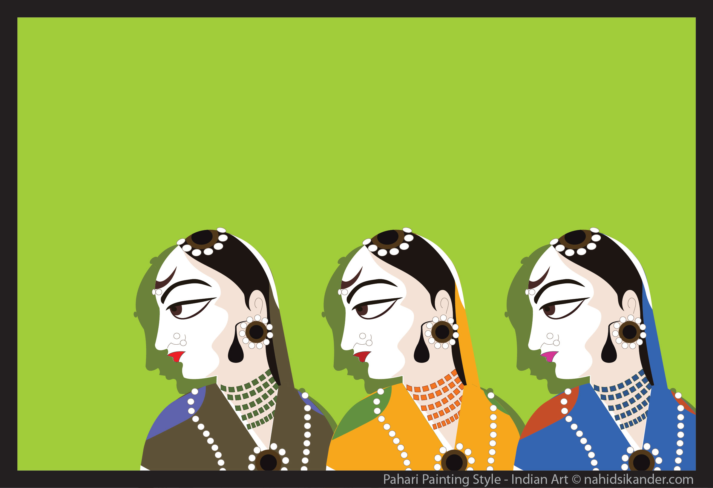 three women, Indian art - pahari painting style