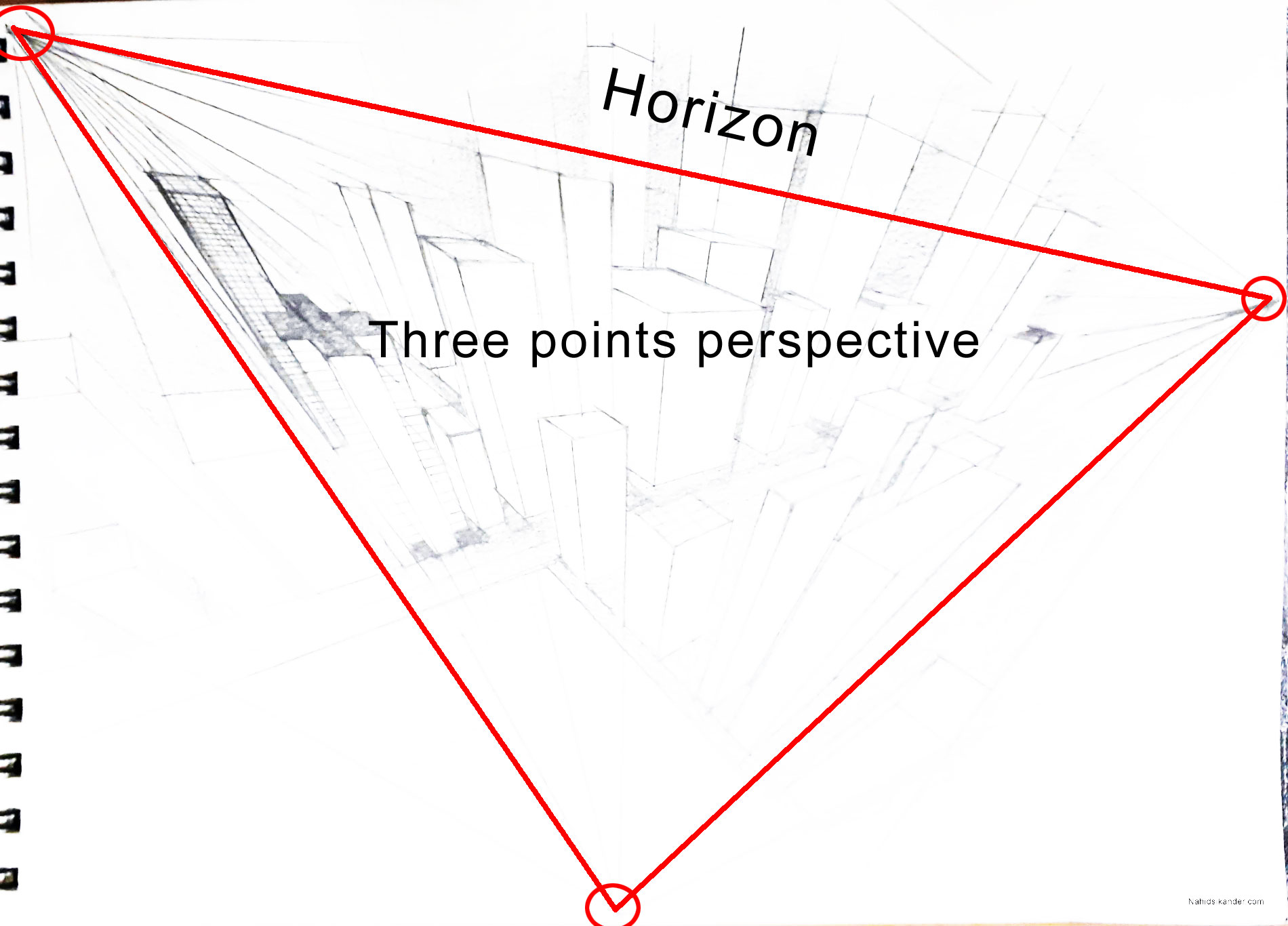 three points perspective, draw vanishing points and horizon line