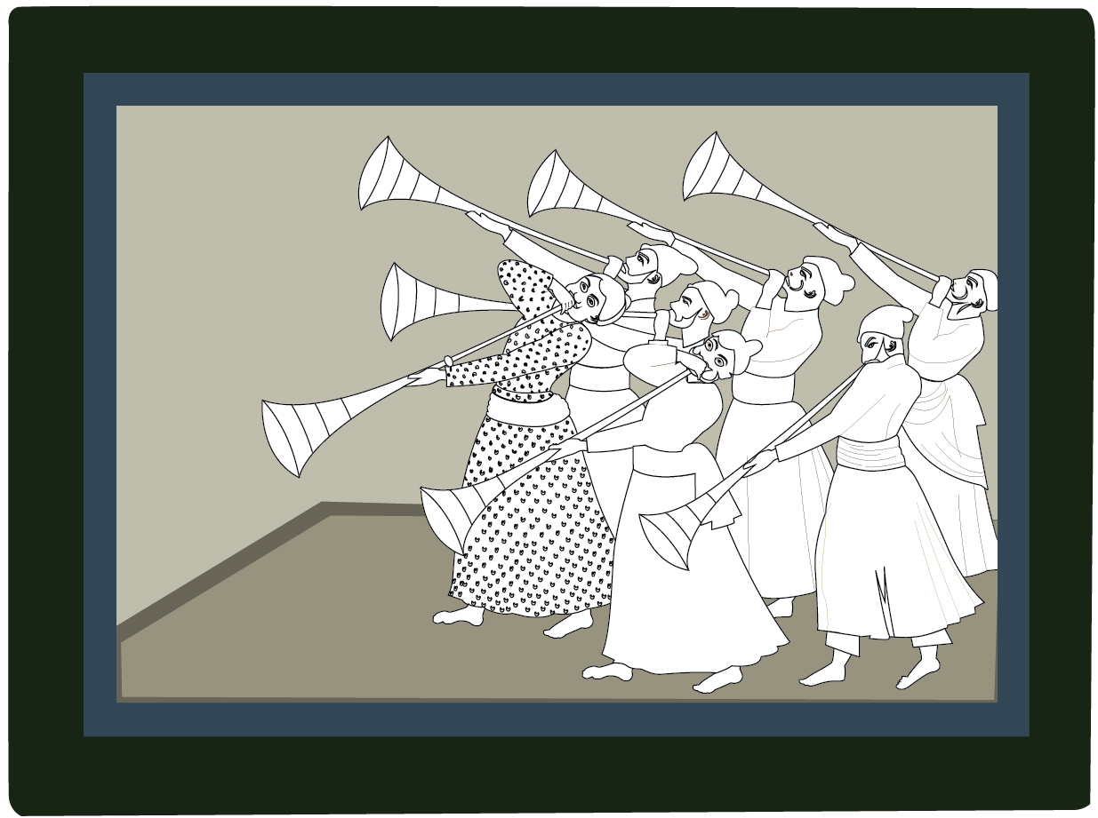 troupe of trumpeters Indian art, outline