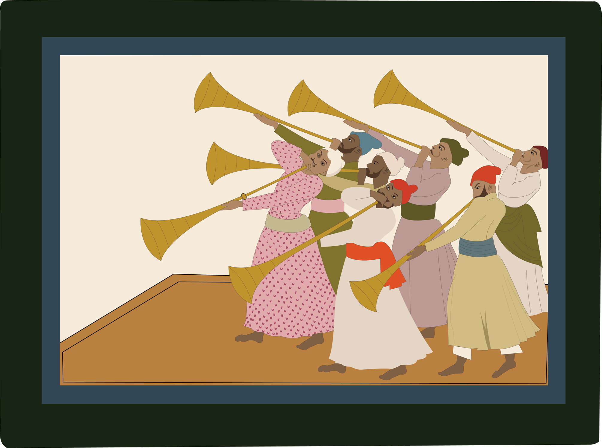 troupe of trumpeters Indian art, pahari paintings
