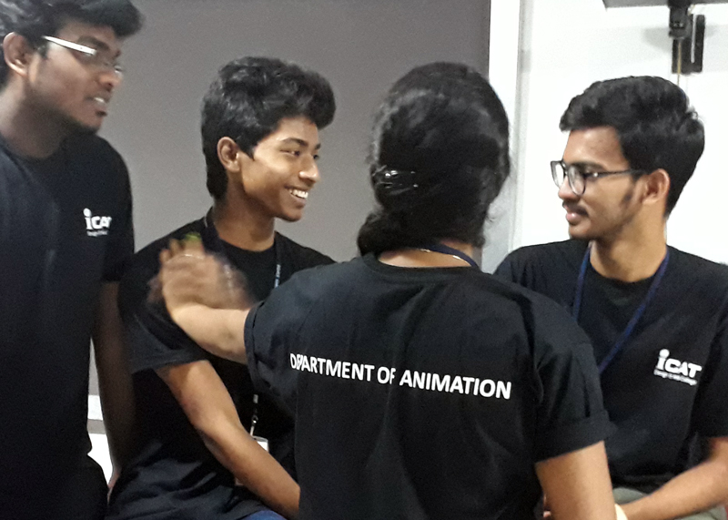 students and volunteers at animation day celebration at icat