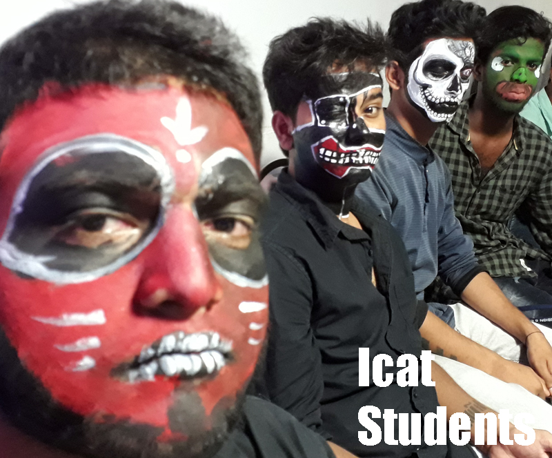 face painting at icat college, students sitting for their turn