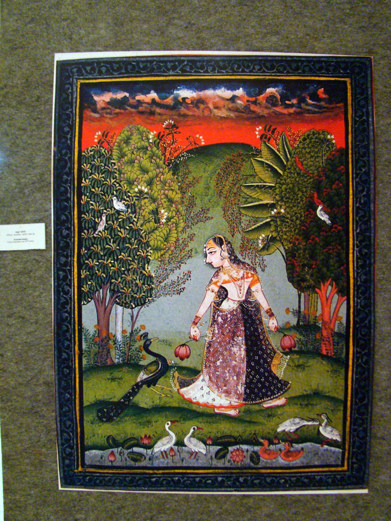 Radha with peacock, Jungle scene