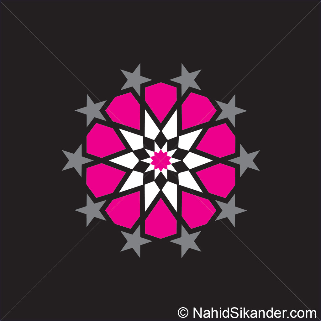 Indian architecture pattern design magenta
