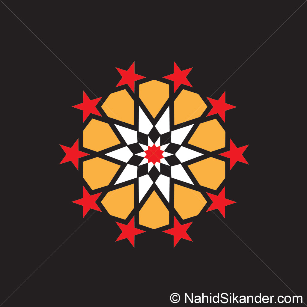 Indian architecture pattern design yellow