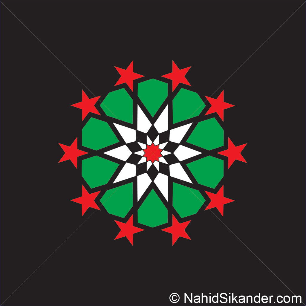 Indian architecture pattern design green