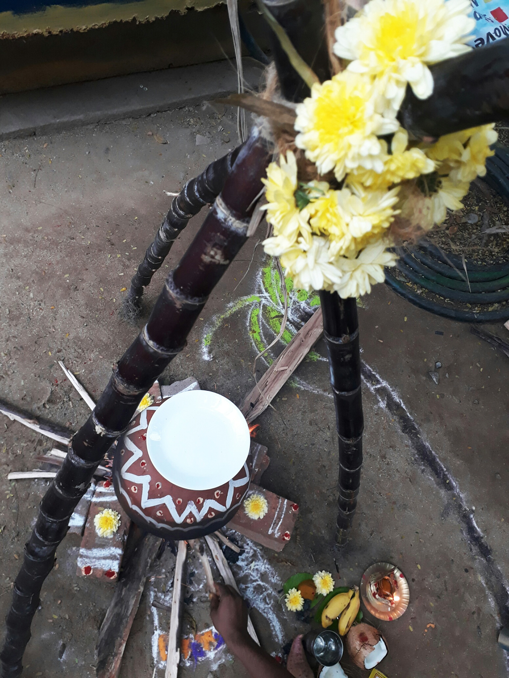 traditional and tribal fire place for pongal food coocking