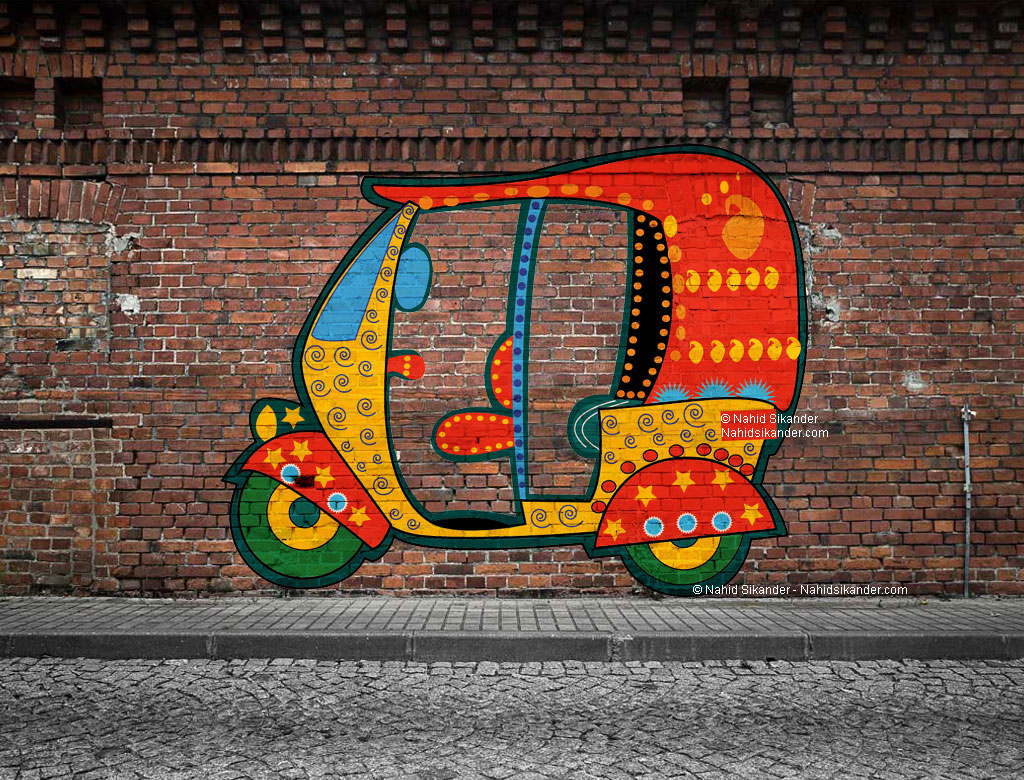 street art in which auto rickshaw is painted on wall